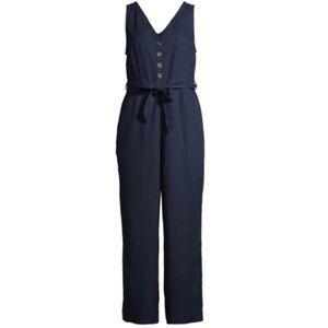 NWT Time & Tru Sleeveless Linen Jumpsuit